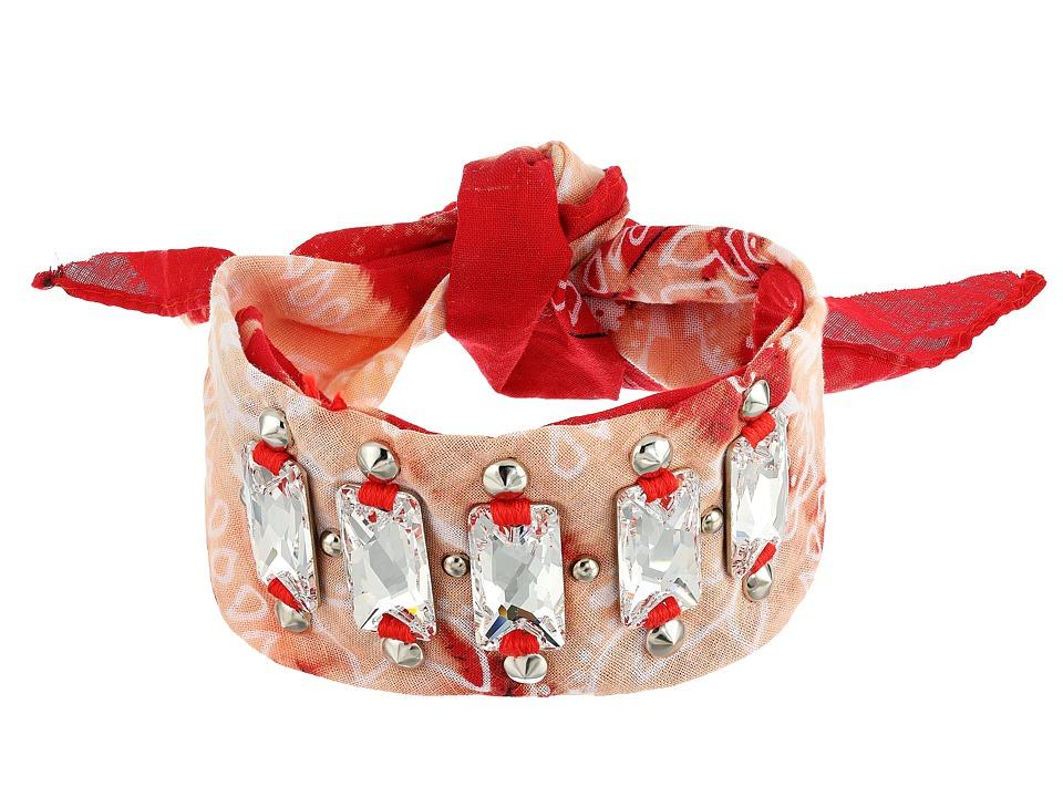 DANNIJO - HARRISON Choker Necklace (Red/Ox Silver/Clear) Necklace