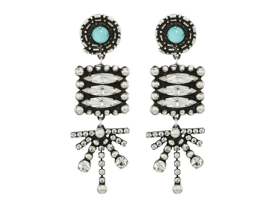 DANNIJO - PARI Earrings (Ox Silver/Clear/Turquoise) Earring