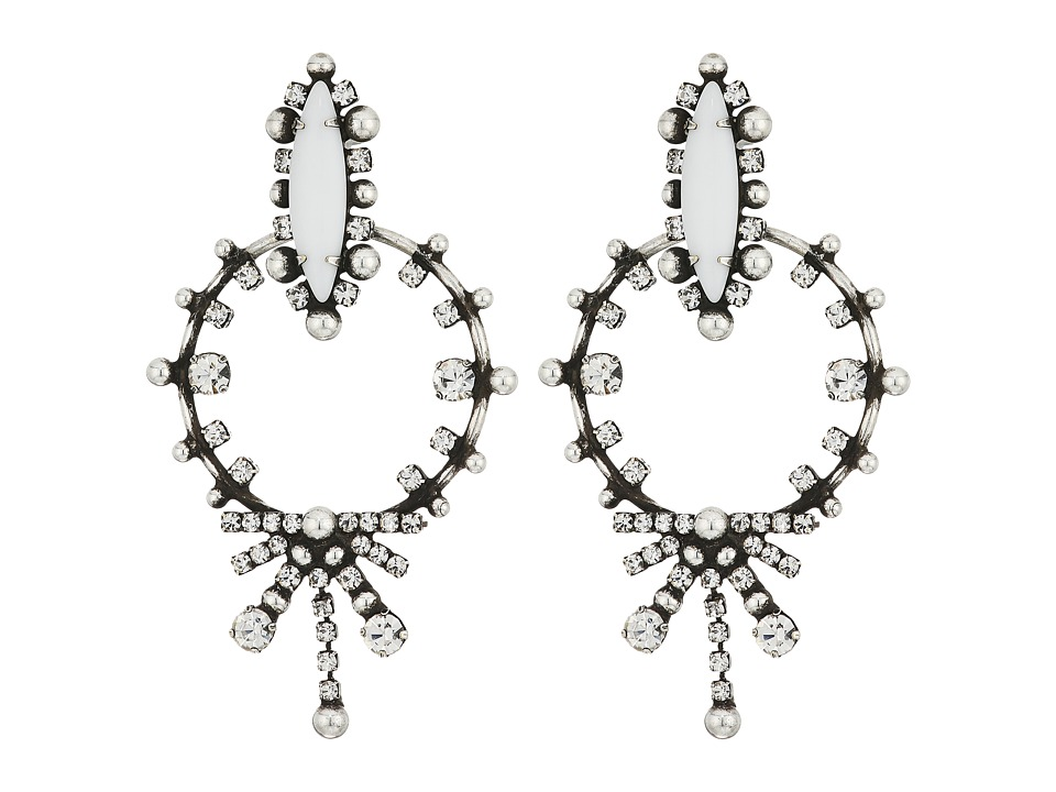 DANNIJO - ANJA Earrings (Ox Silver/White/Crystal) Earring