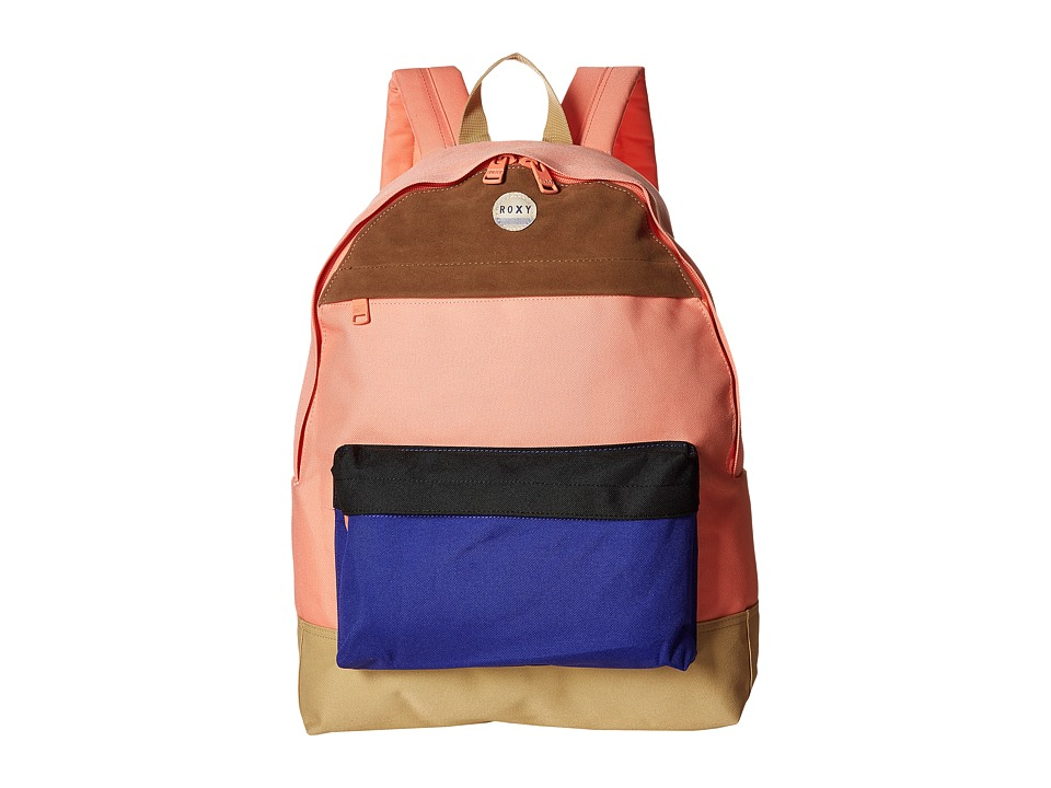 Roxy - Sugar Baby Color Block Backpack (Burnt Coral) Backpack Bags