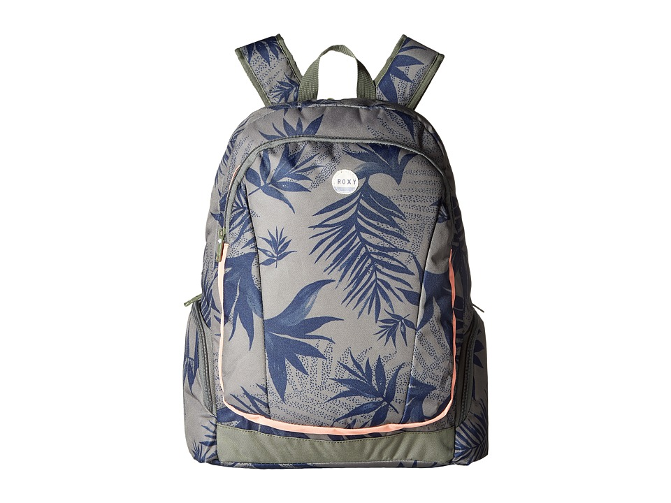 Roxy - Alright Printed Backpack (Indo Floral Combo/Dusty Olive) Backpack Bags