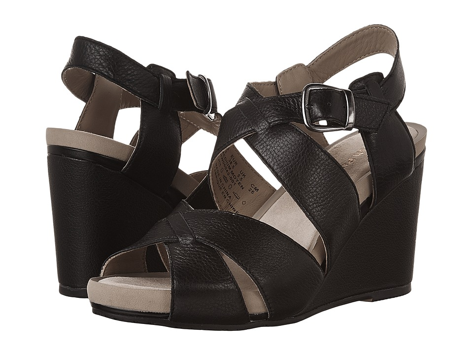 Hush Puppies - Fintan Montie (Black Leather) Women's Wedge Shoes