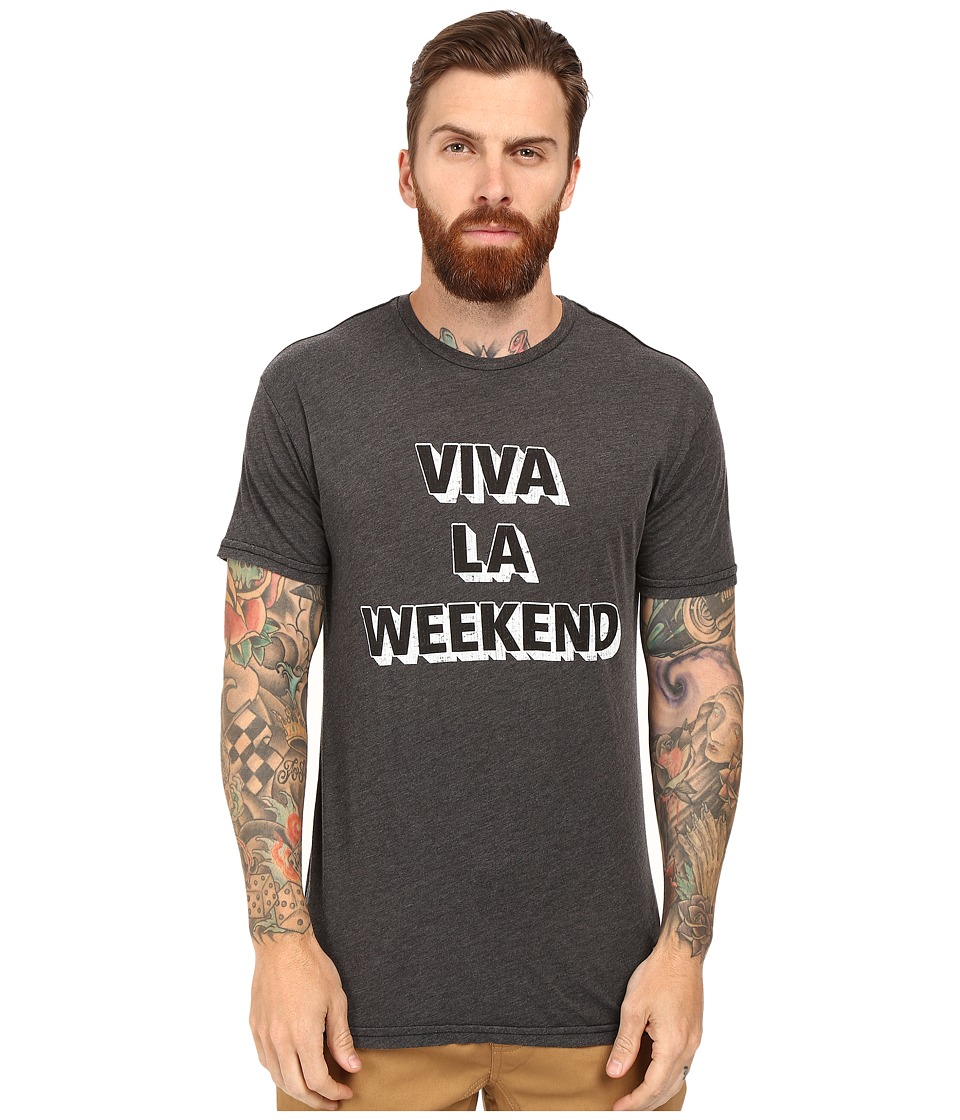 The Original Retro Brand - Short Sleeve Heathered Viva La Weekend Tee (Heather Black) Men's T Shirt