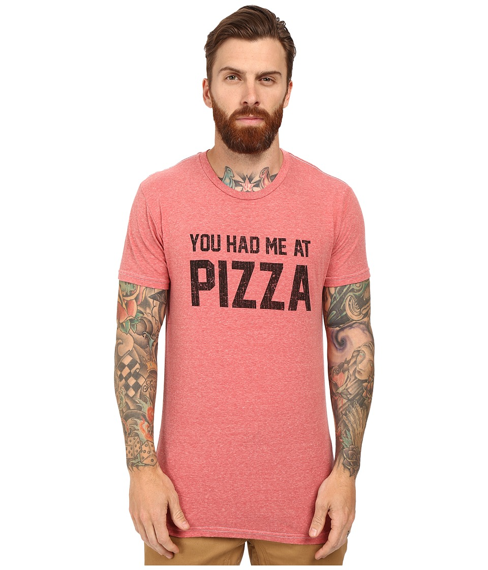 The Original Retro Brand - Short Sleeve Tri-Blend You Had Me at Pizza Tee (Streaky Red) Men's T Shirt