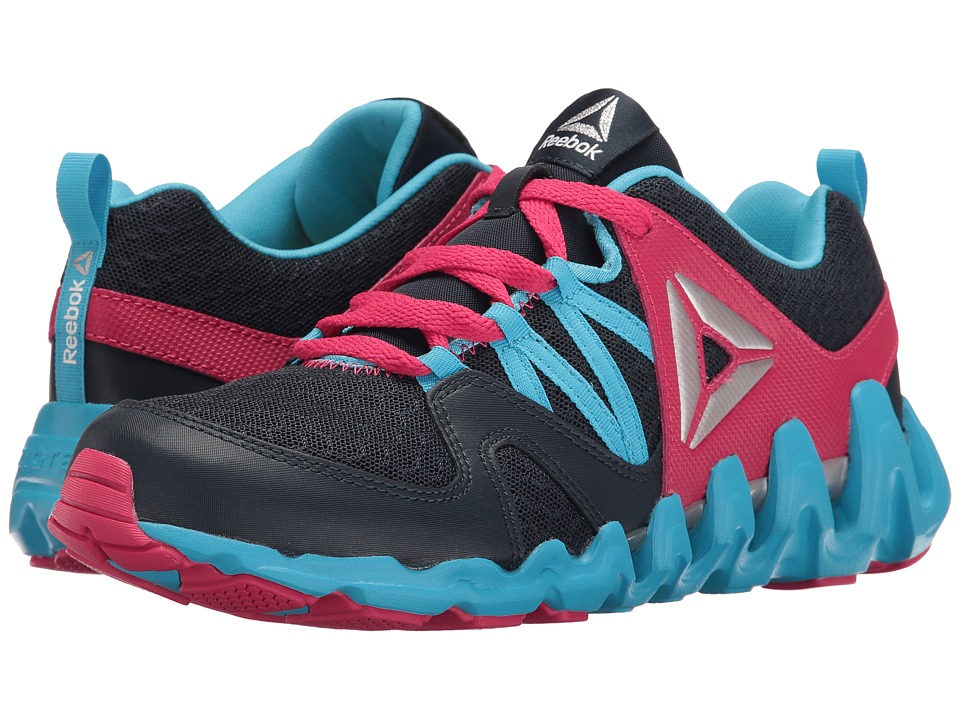 Reebok Kids - Zig Big N' Fast Fire (Big Kid) (Collegiate Navy/Blue Beam/Pink Craze/Silver) Girls Shoes