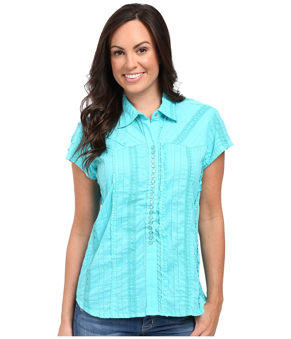 Scully - Honey Creek Lace Cap Sleeve Top W/ Flirty Snap Front (Turquoise) Women's Clothing