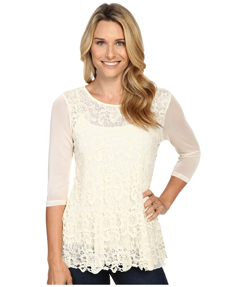 Scully - Cambria Lace and Sheer Top (Ivory) Women's Clothing