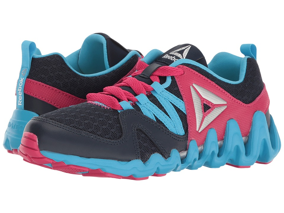 Reebok Kids - Zig Big N' Fast Fire (Little Kid) (Collegiate Navy/Blue Beam/Pink Craze/Silver) Girls Shoes