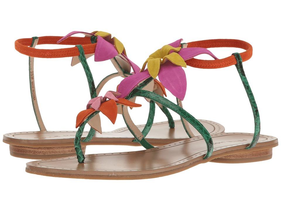 Pelle Moda - Ellis (Green Snake/Tangerine Suede) Women's Sandals