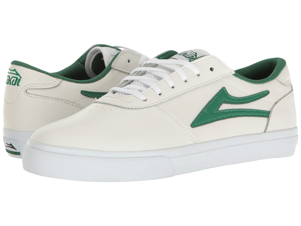 Lakai - Manchester (White/Green Leather) Men's Shoes