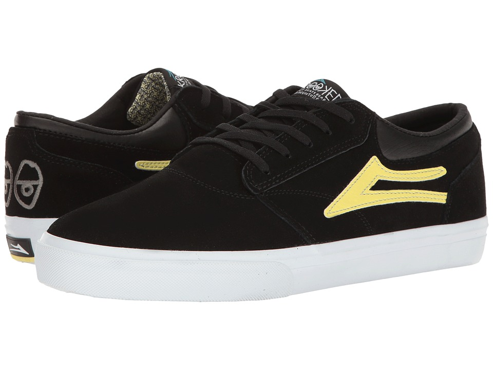 Lakai - Griffin X Krooked (Black/Yellow Suede) Men's Shoes