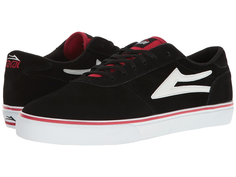 Lakai - Manchester (Black/Red/White Suede) Men's Shoes