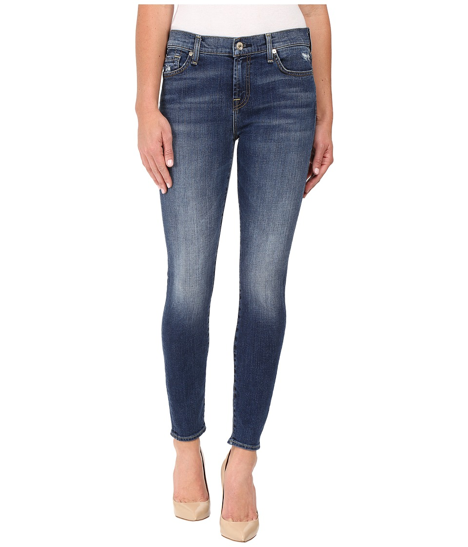 7 For All Mankind - The Ankle Skinny w/ Distress in Manchester Square (Manchester Square) Women's Jeans