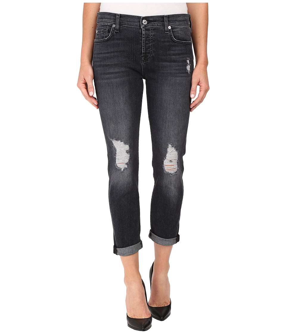 7 For All Mankind - Josefina w/ Destroy Shadow Pockets - Clean Back Pocket in Black Shadow 2 (Black Shadow 2) Women's Jeans