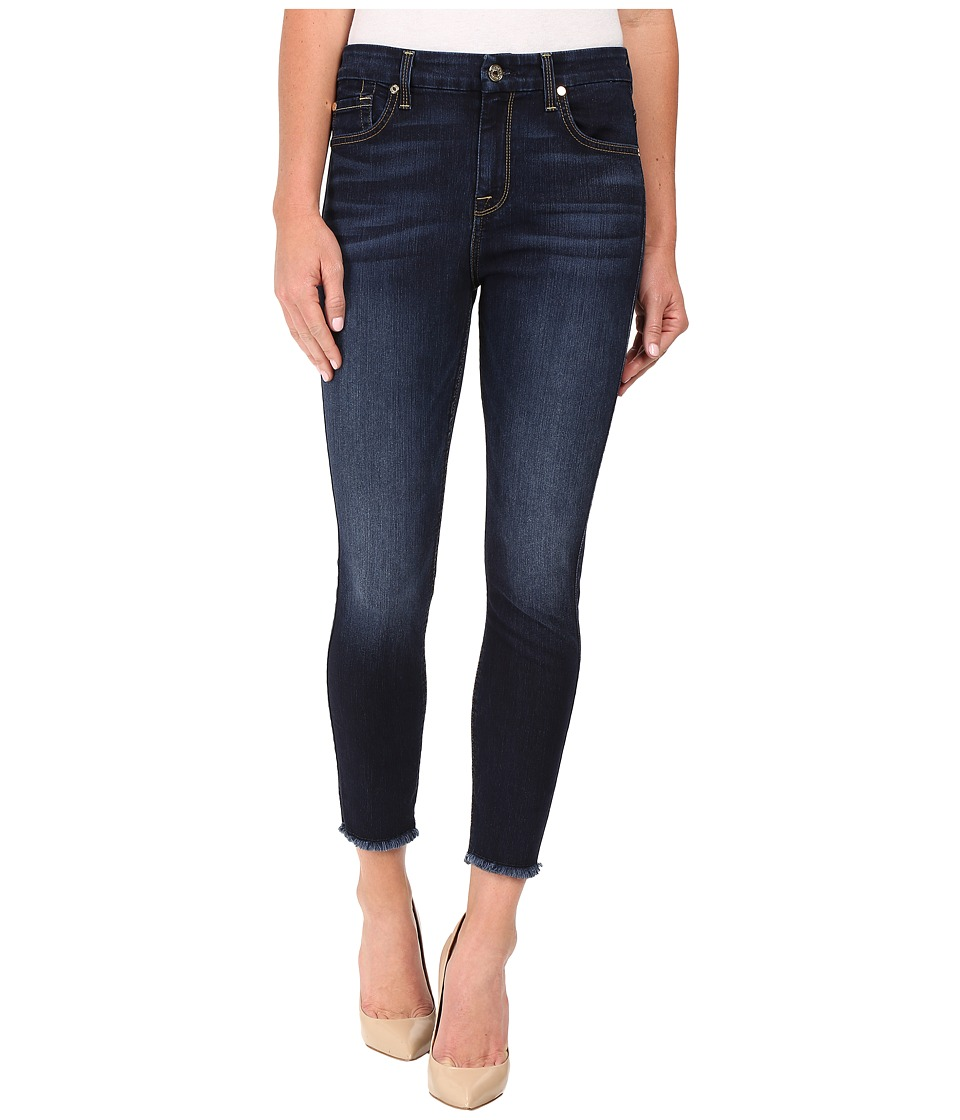 7 For All Mankind - The High Waist Ankle Skinny w/ Raw Hem in Dark Canterbury (Dark Canterbury) Women's Jeans