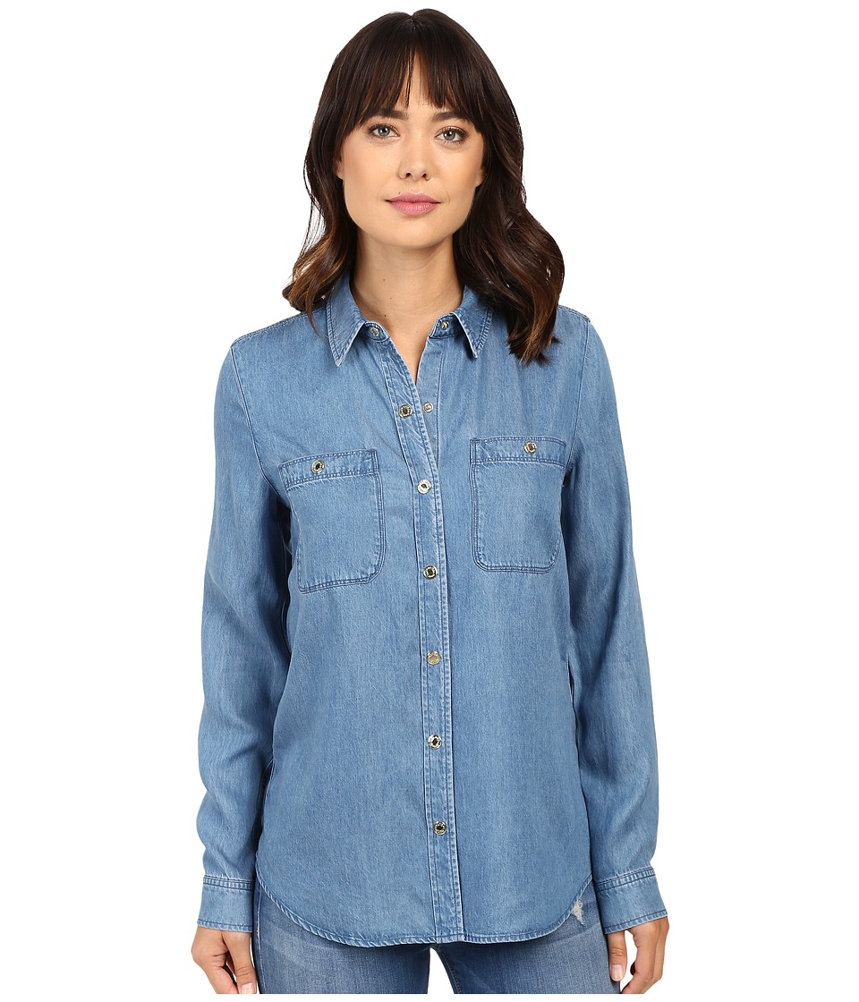 7 For All Mankind - Two-Pocket Slim Boyfriend Button Front in Castle Lake Blue (Castle Lake Blue) Women's Clothing