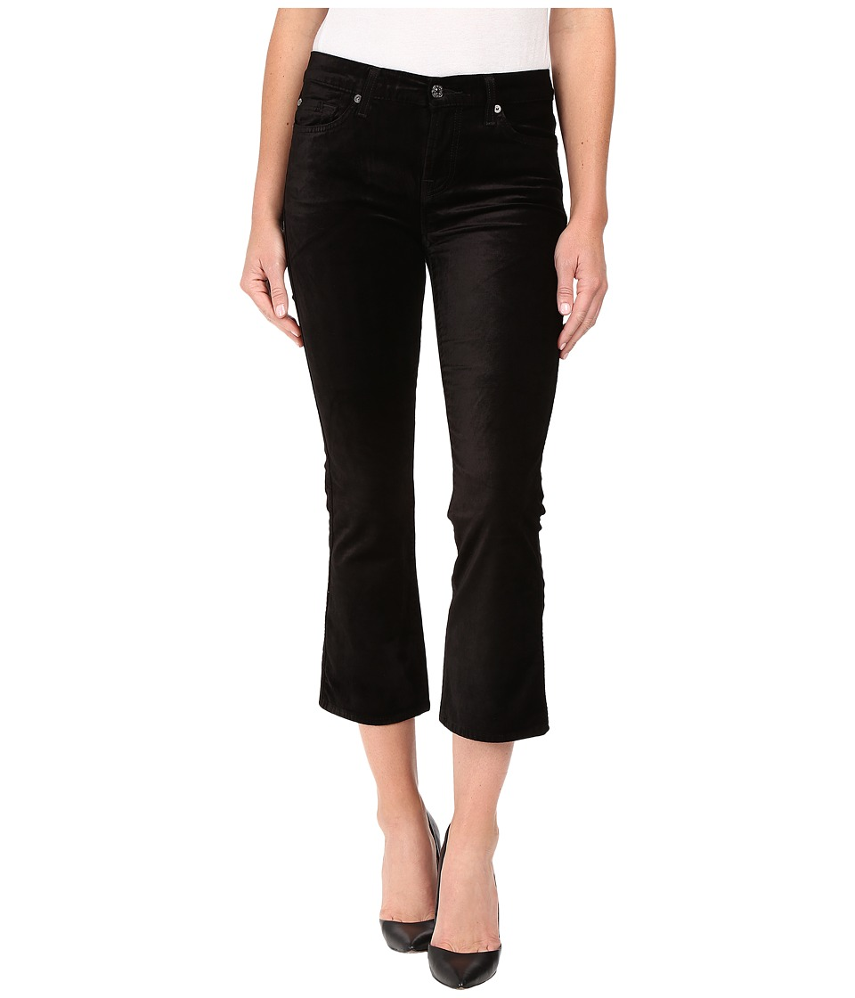 7 For All Mankind - Cropped Boot in Black Velvet (Black Velvet) Women's Jeans