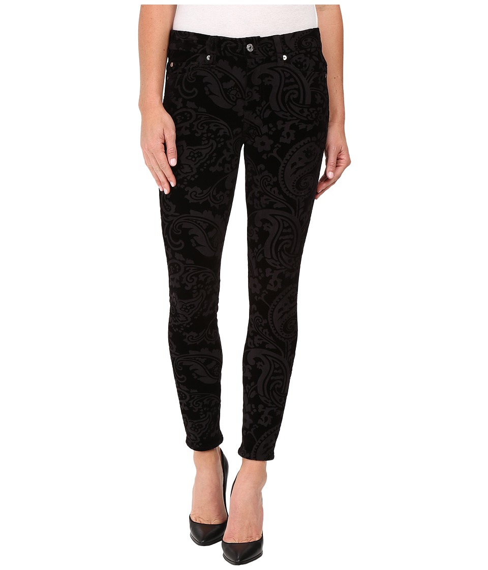7 For All Mankind - The Ankle Skinny w/ Contour Waist Band in Black Velveteen Paisley (Black Velveteen Paisley) Women's Jeans