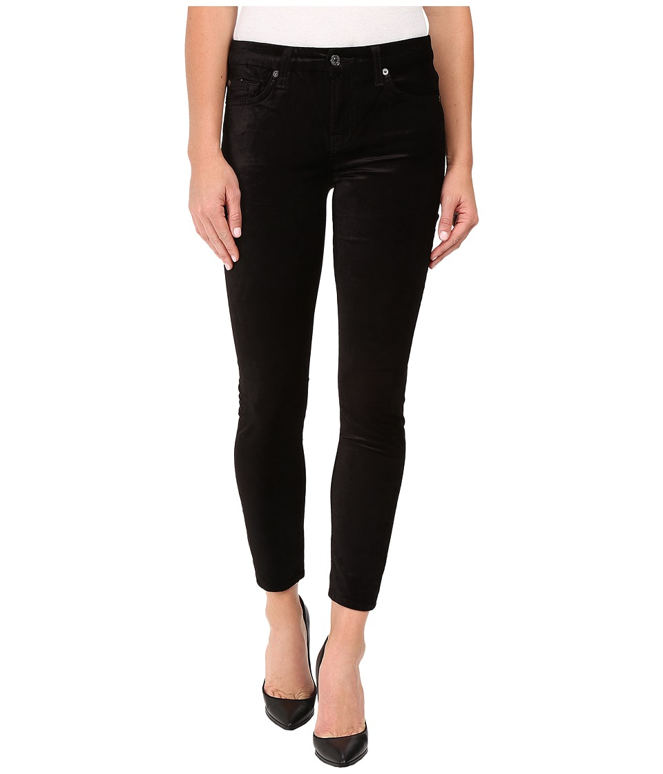 7 For All Mankind - The Ankle Skinny w/ Contour Waist Band in Black Velvet (Black Velvet) Women's Jeans
