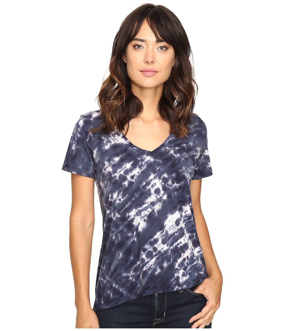 The Beginning Of - Olivia V-Neck High-Low Tee (Indigo 1) Women's Short Sleeve Pullover