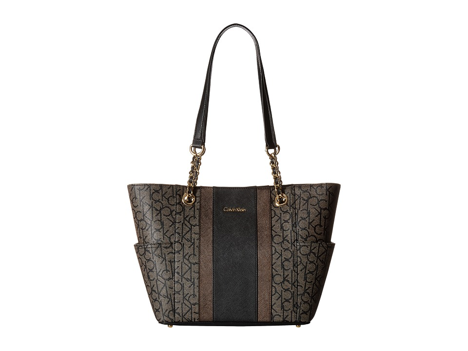 Calvin Klein - Monogram Chain Tote (Textured Khaki/Black Stripe) Tote Handbags