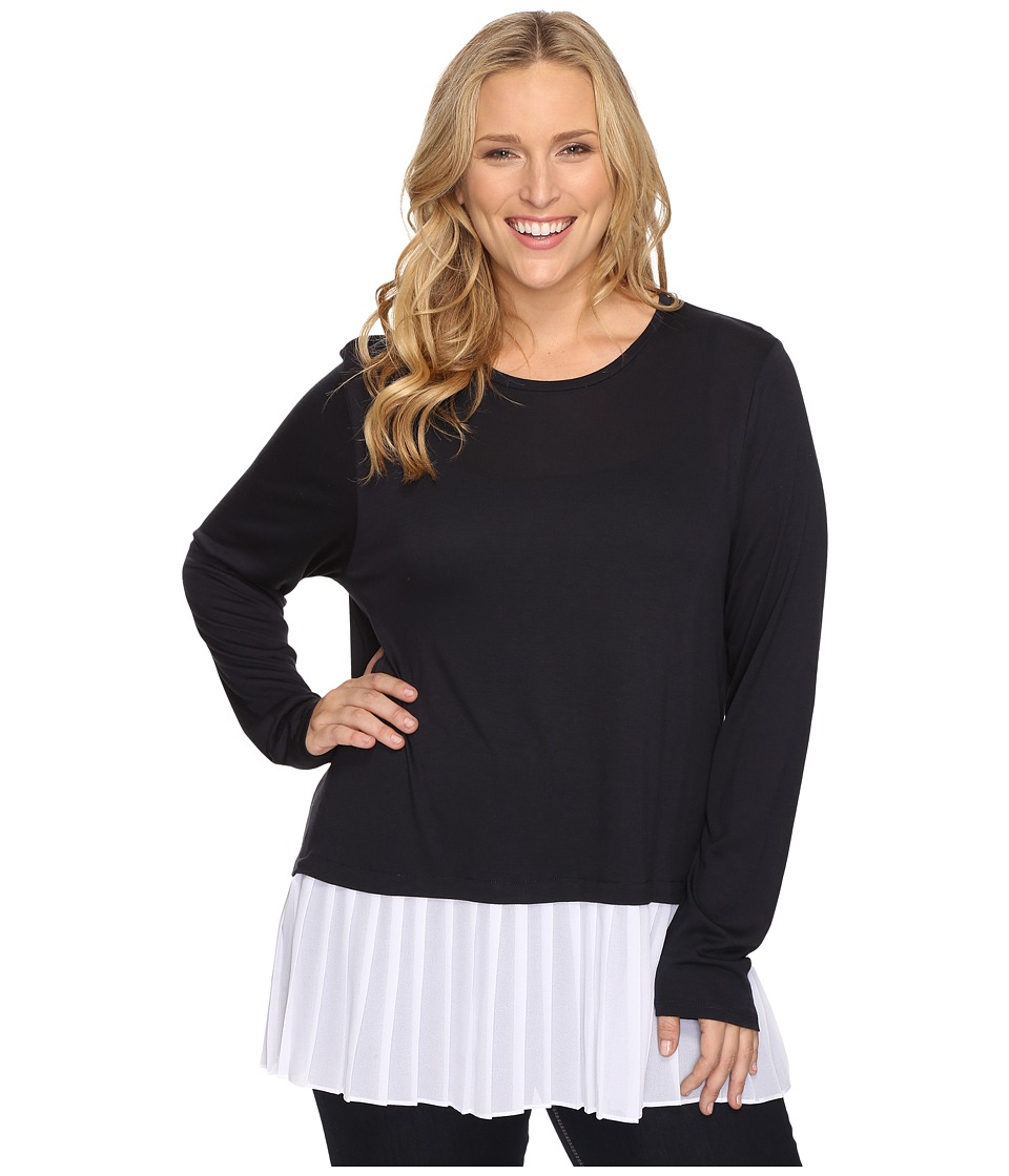 MICHAEL Michael Kors - Plus Size Pleated Woven Hem Top (New Navy/White) Women's Clothing