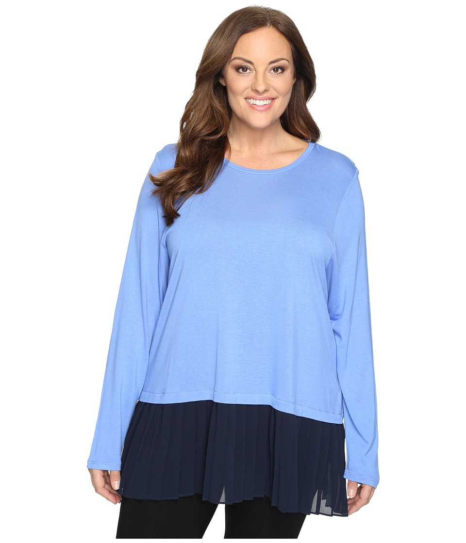 MICHAEL Michael Kors - Plus Size Pleated Woven Hem Top (Oxford Blue/New Navy) Women's Clothing