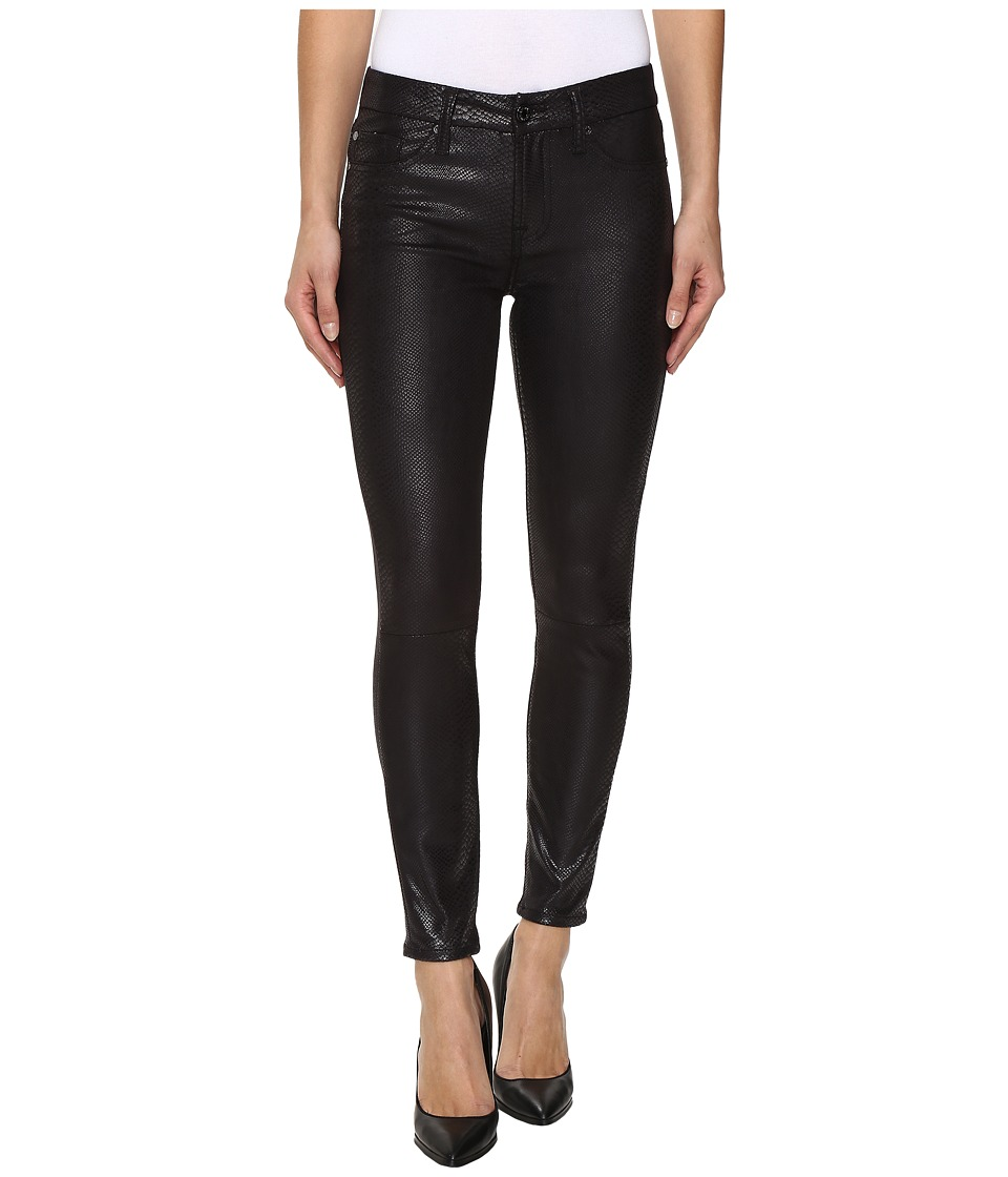 7 For All Mankind - The Knee Seam Ankle Skinny in Black Metal Snake (Black Metal Snake) Women's Jeans