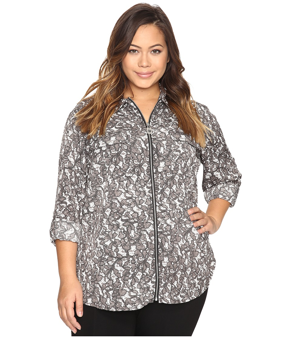 MICHAEL Michael Kors - Plus Size All Over Umbria Dog Tag Top (Ecru) Women's Clothing