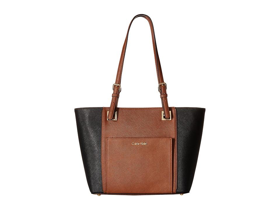 Calvin Klein - Saffiano Tote (Luggage/Black) Tote Handbags