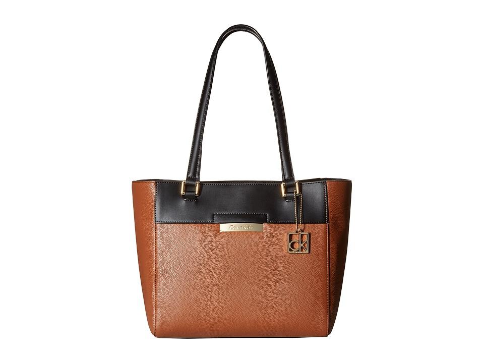 Calvin Klein - Rowan Pebble Tote (Luggage/Black) Tote Handbags