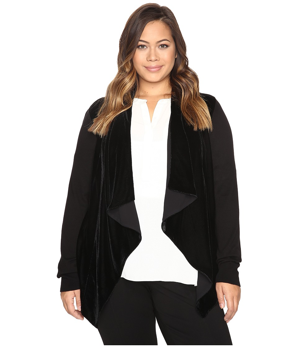 MICHAEL Michael Kors Plus Size Velvet Drape Front Sweater (Black) Women