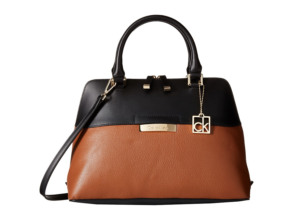 Calvin Klein - Rowan Pebble Satchel (Luggage/Black) Satchel Handbags