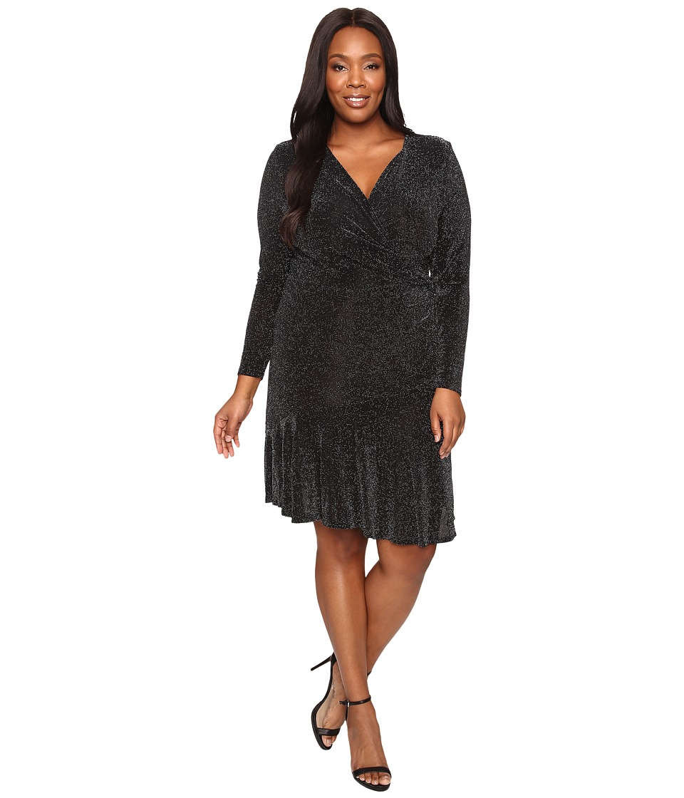 MICHAEL Michael Kors - Plus Size Long Sleeve Wrap Flounce Dress (Black) Women's Dress