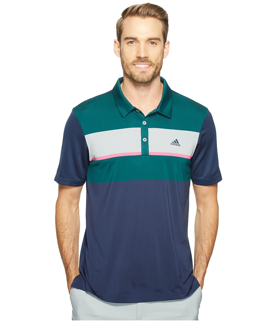 adidas Golf climacool Engineered Block Polo (Dark Steel/Rich Green/Mid Grey/Shock Pink) Men