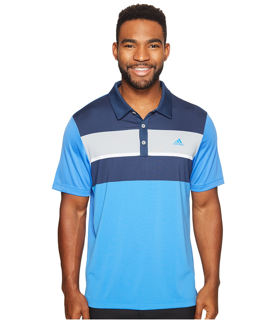 adidas Golf - climacool Engineered Block Polo (Blast Blue/Dark Slate/Mid Grey) Men's Short Sleeve Pullover