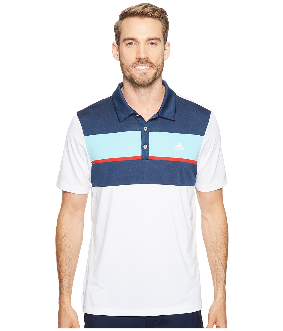 adidas Golf - climacool Engineered Block Polo (White/Dark Slate/Aqua/Scarlet) Men's Short Sleeve Pullover