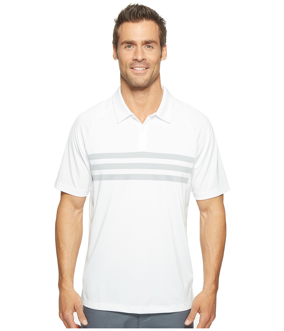 adidas Golf - Climacool 3-Stripes Competition Polo (White/Mid Grey/White) Men's Short Sleeve Pullover