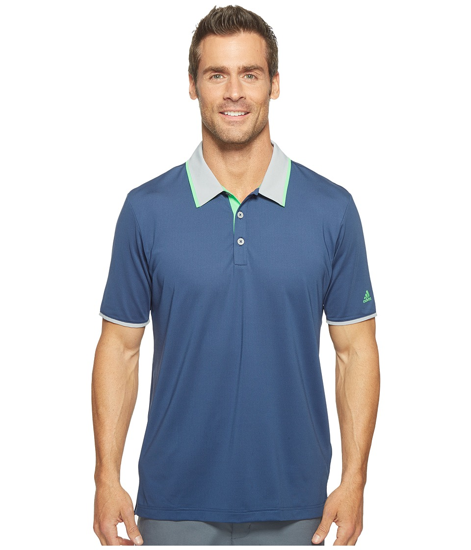 adidas Golf - Climacool Performance Polo (Dark Slate/Mid Grey/Solar Lime) Men's Short Sleeve Pullover