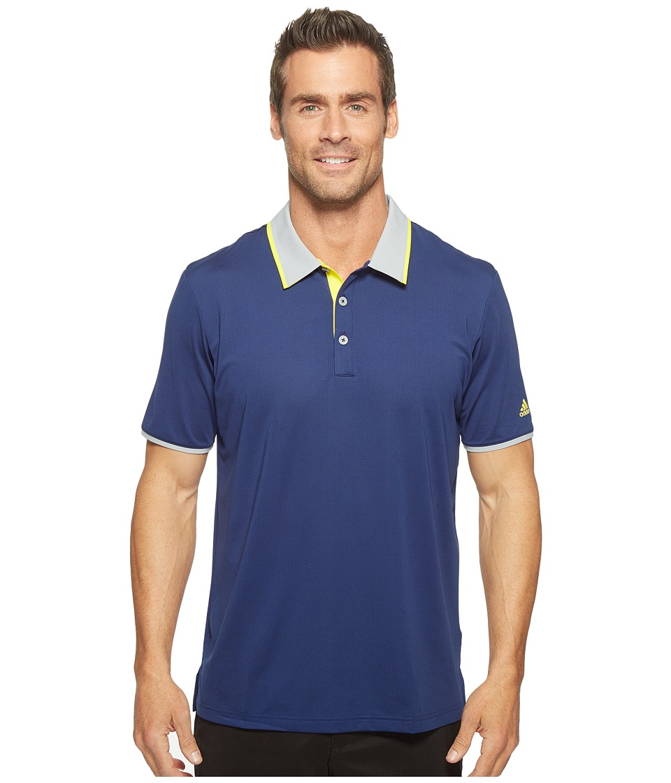 adidas Golf - Climacool Performance Polo (Dark Blue/Mid Grey/Vivid Yellow) Men's Short Sleeve Pullover