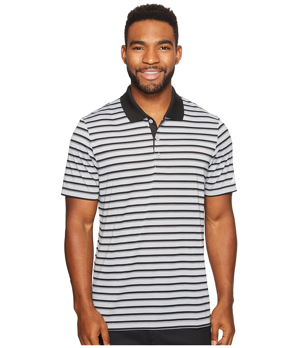 adidas Golf - Club Merch Stripe Polo (Mid Grey/Black/White) Men's Short Sleeve Pullover