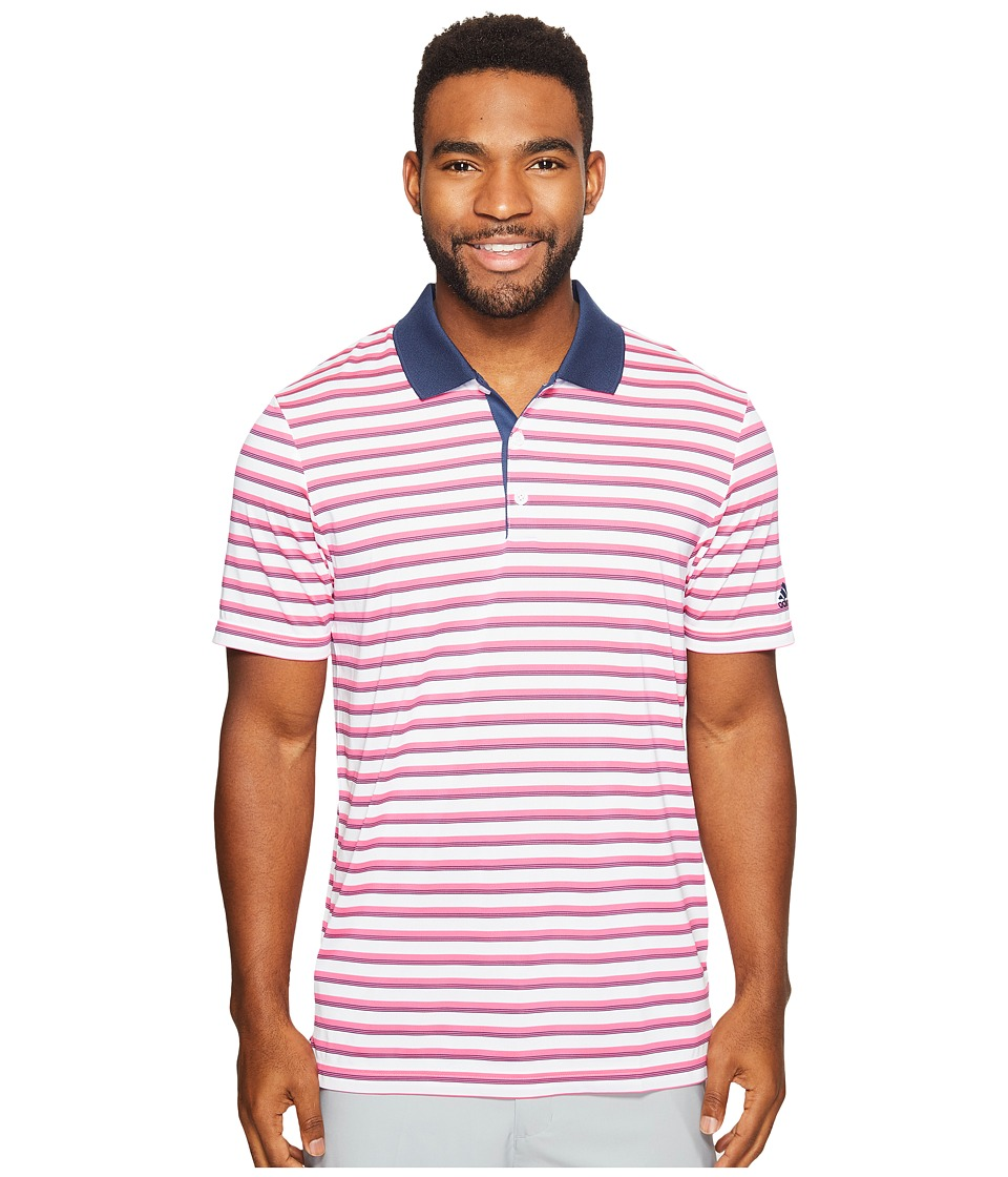adidas Golf - Club Merch Stripe Polo (White/Shock Pink/Collegiate Royal) Men's Short Sleeve Pullover