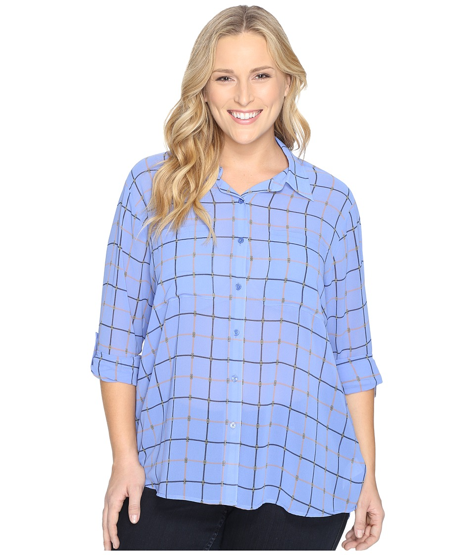 MICHAEL Michael Kors - Plus Size Multi Dressage Button Down Top (Oxford Blue) Women's Clothing