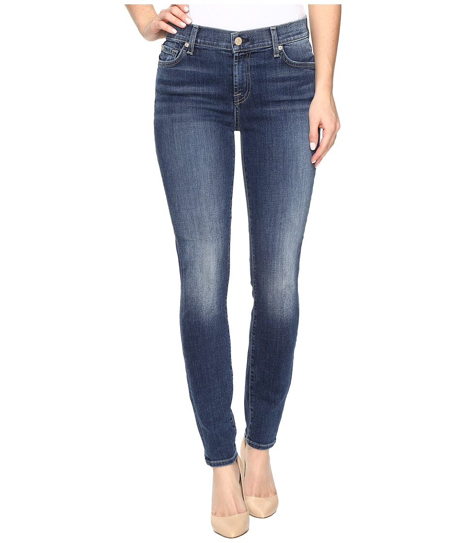 7 For All Mankind - The Ankle Skinny w/ Navy Tonal Squiggle in High Street (High Street) Women's Jeans