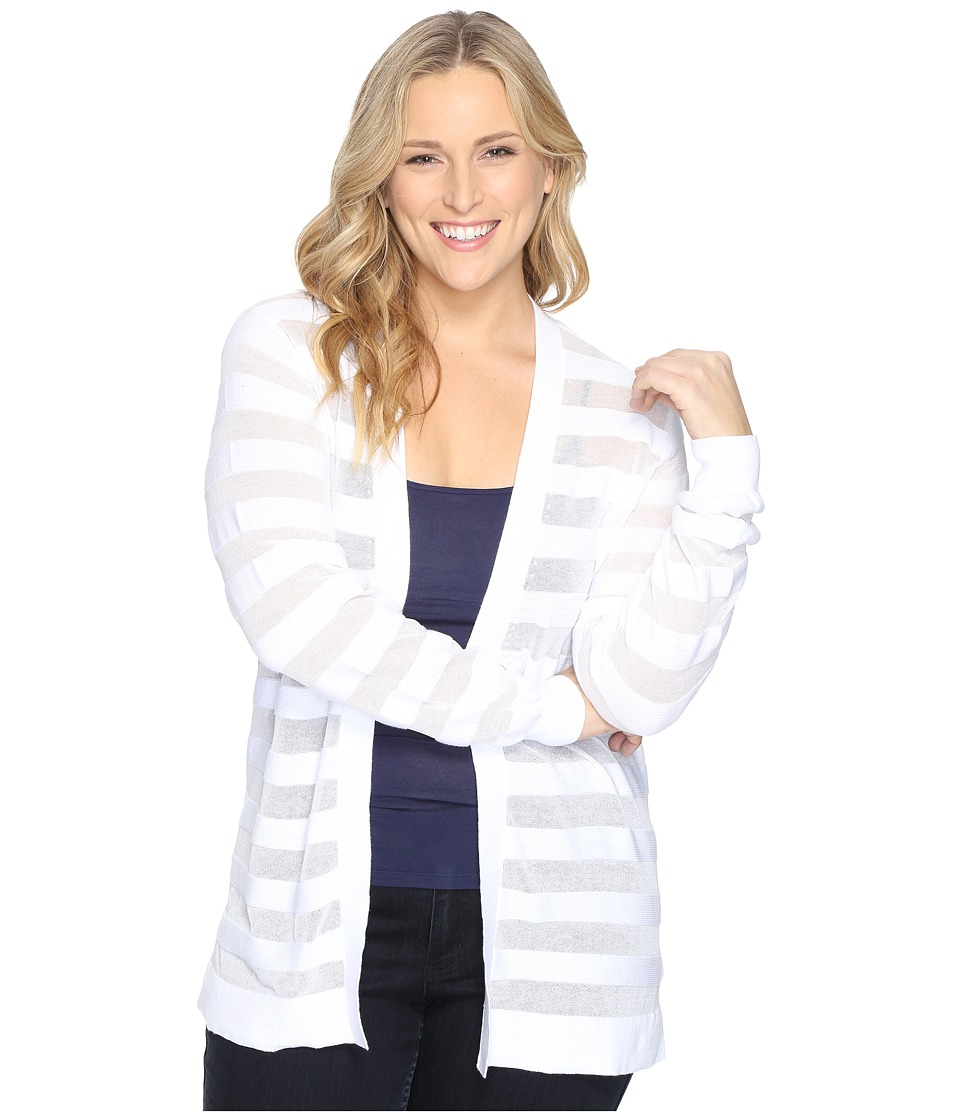 MICHAEL Michael Kors - Plus Size Sheer Stripe Open Cardi (White) Women's Sweater