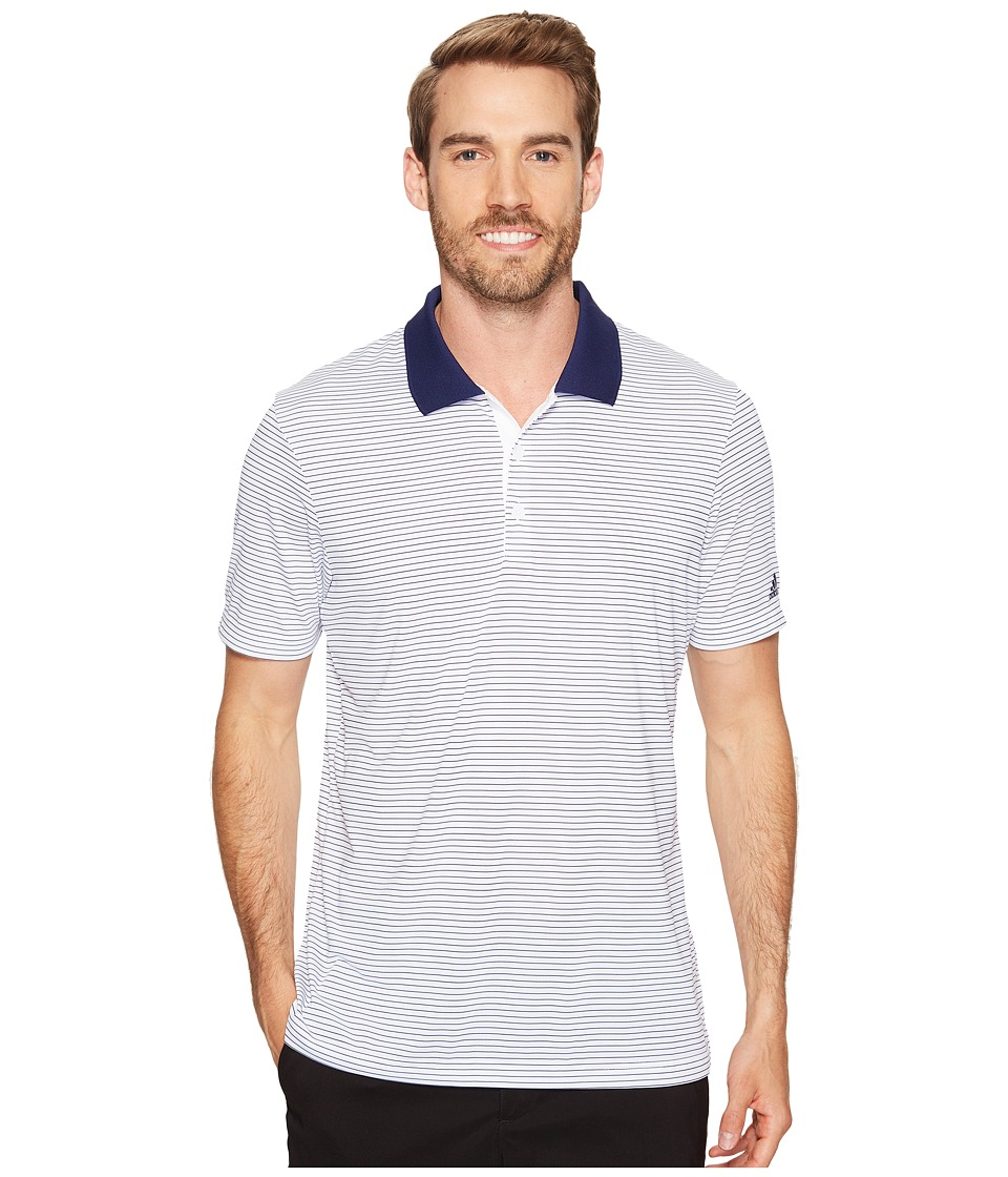 adidas Golf - 2-Color Merch Stripe Polo (White/Dark Blue) Men's Short Sleeve Pullover