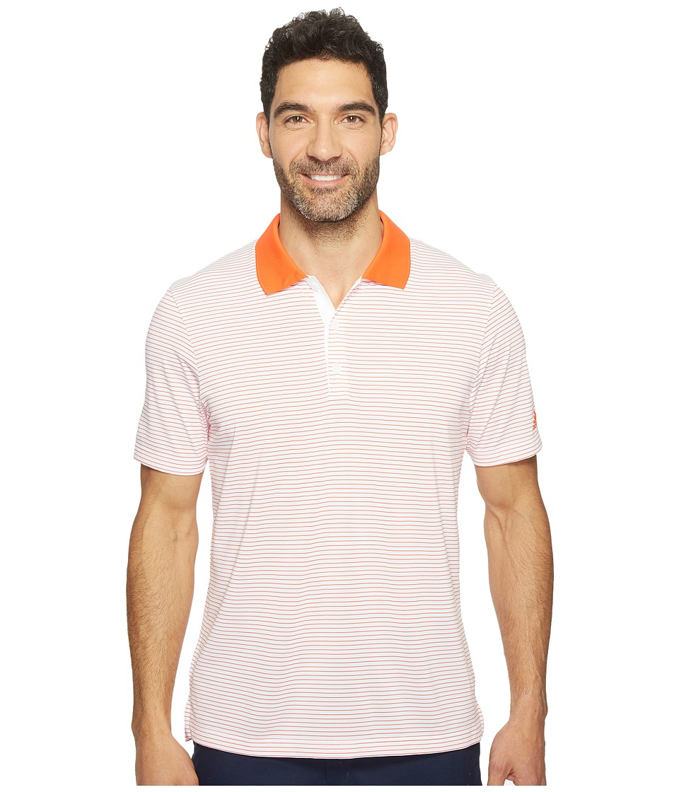 adidas Golf - 2-Color Merch Stripe Polo (White/Energy) Men's Short Sleeve Pullover