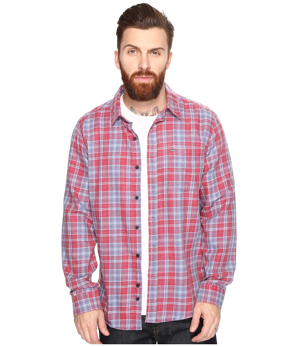Hurley - Porter Long Sleeve Flannel (Gym Red) Men's Clothing