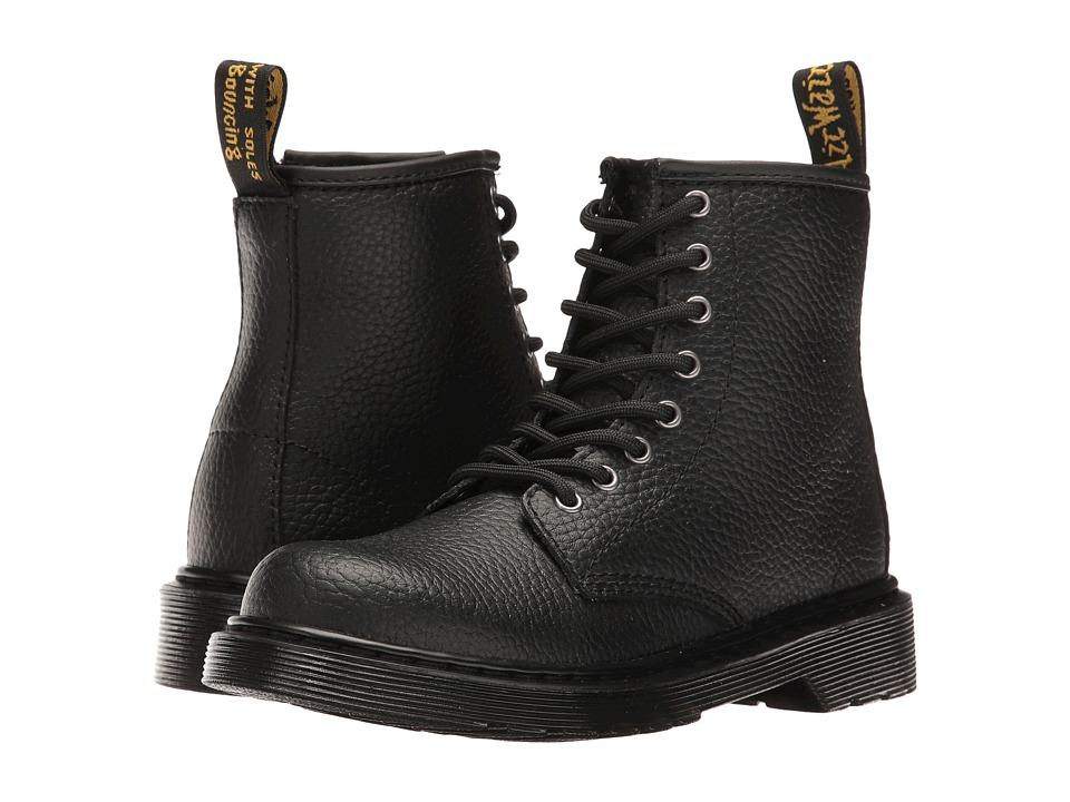Dr. Martens Kid's Collection - Delaney PBL Lace Boot (Little Kid/Big Kid) (Black Pebble Lamper) Kids Shoes