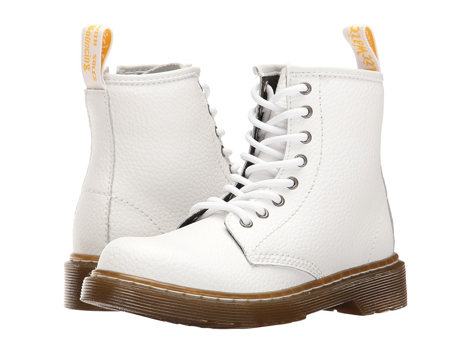 Dr. Martens Kid's Collection - Delaney PBL Lace Boot (Little Kid/Big Kid) (White Pebble Lamper) Kids Shoes